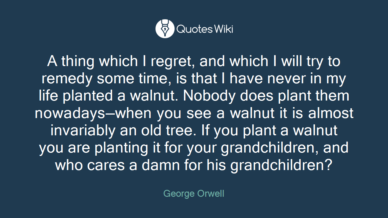 A thing which I regret, and which I will try to remedy some time, is that I have never in my life planted a walnut. Nobody does plant them nowadays—when you see a walnut it is almost invariably an old tree. If you plant a walnut you are planting it for your grandchildren, and who cares a damn for his grandchildren?
