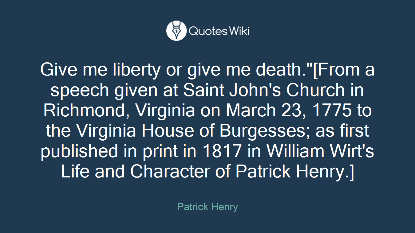 give liberty or give me death