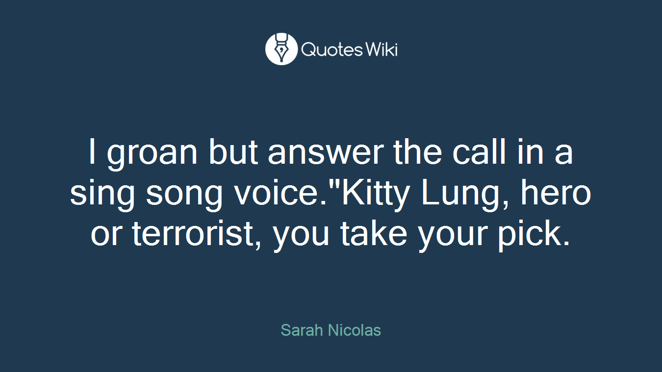 "I groan but answer the call in a sing song voice.""Kitty Lung, hero or terrorist, you take your pick."