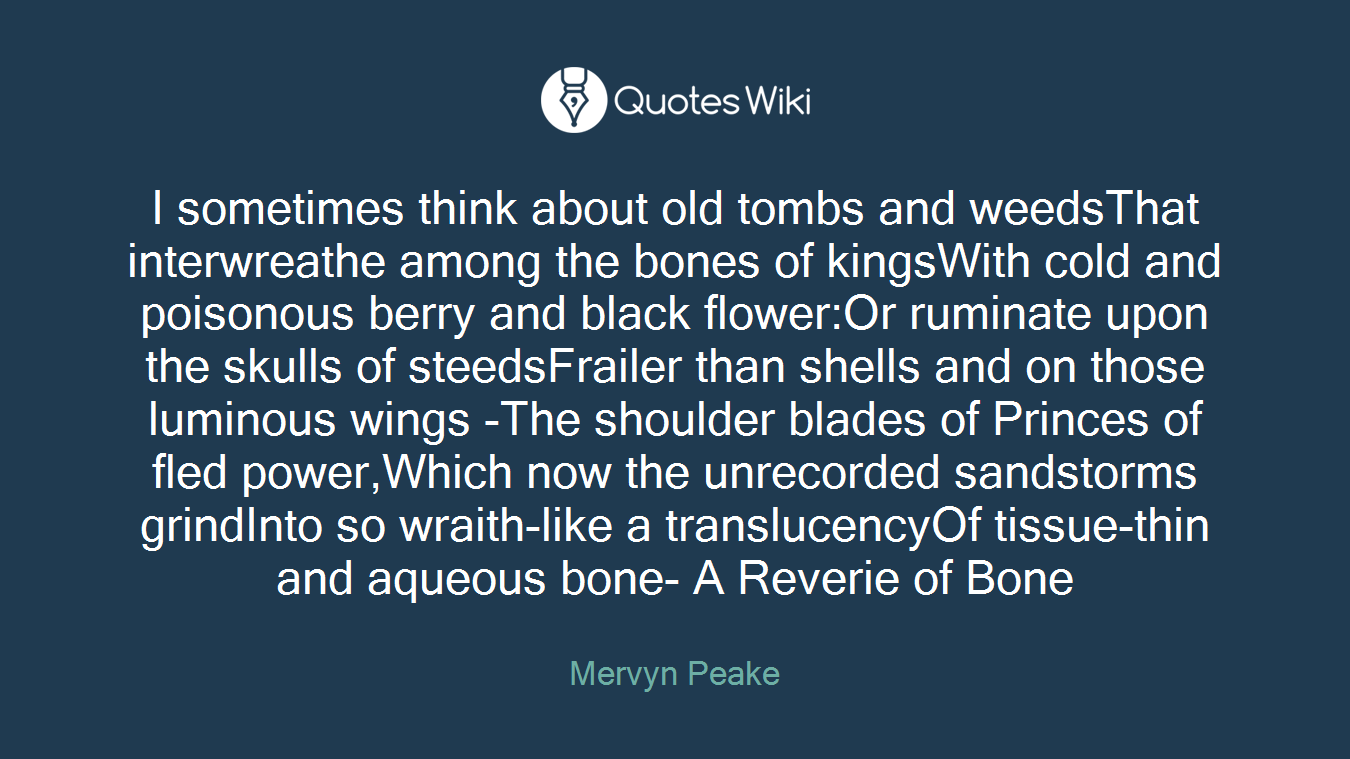 I Sometimes Think About Old Tombs And Weedsthat