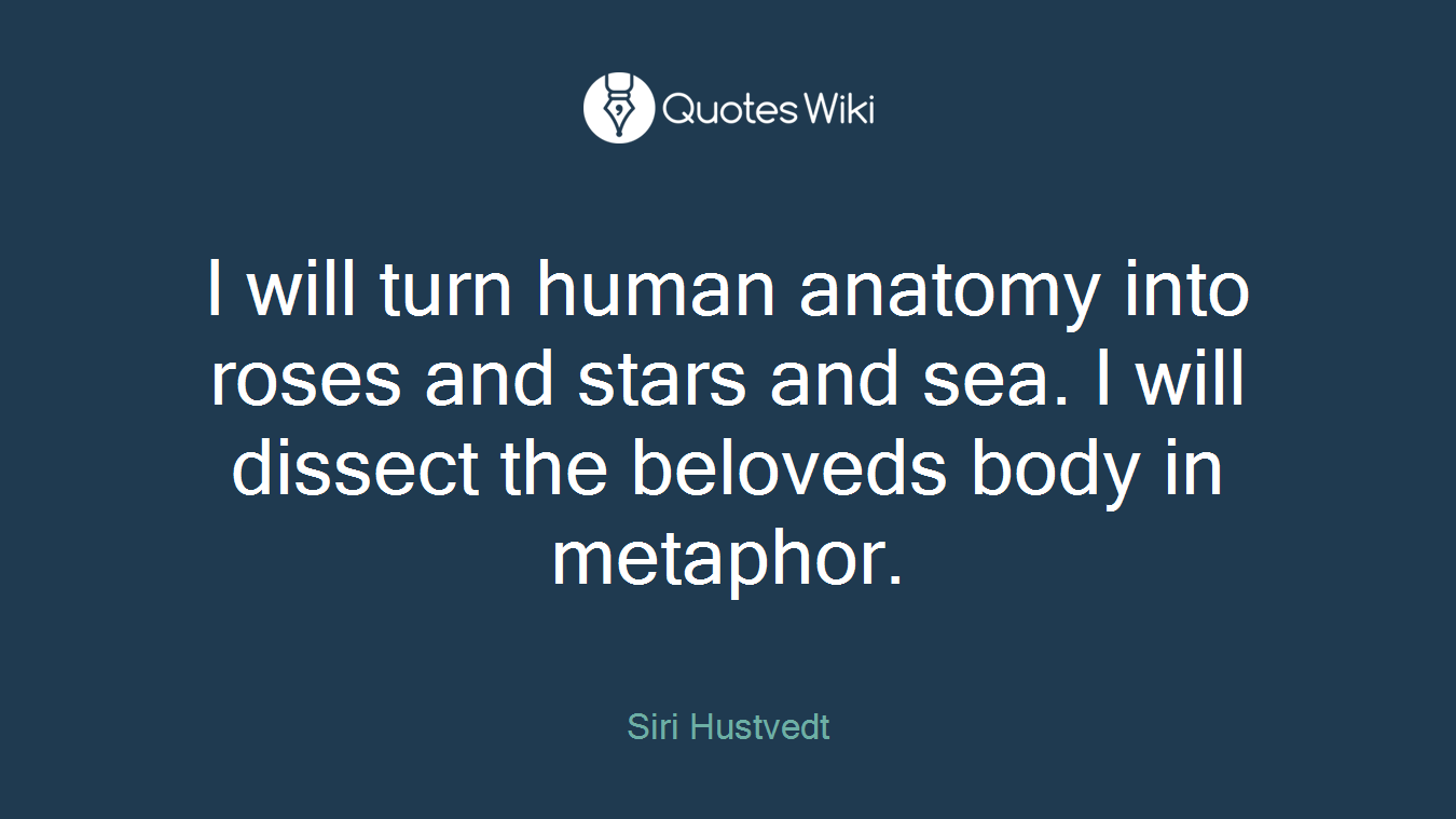 I will turn human anatomy into roses and stars and sea. I will dissect the beloveds body in metaphor.