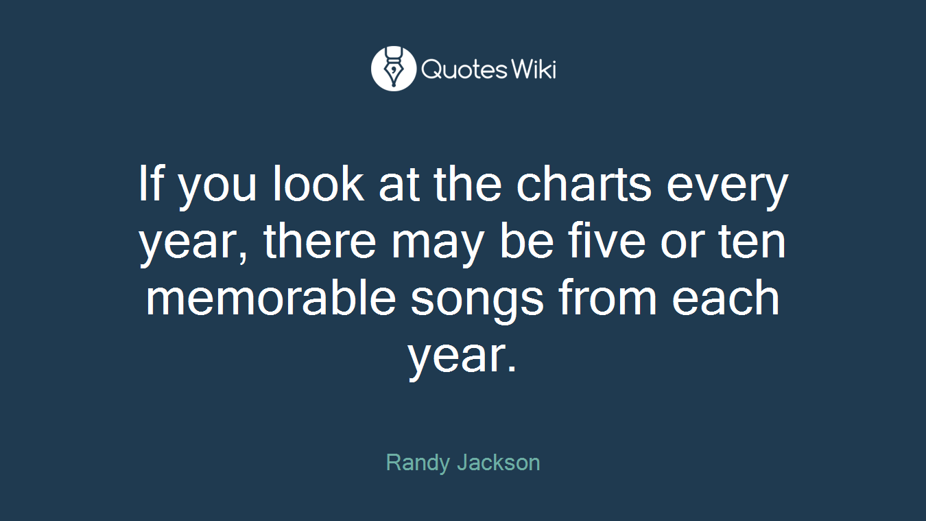 If you look at the charts every year, there may be five or ten memorable songs from each year.
