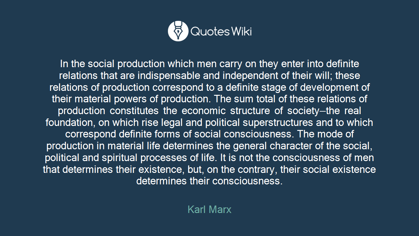 In the social production which men carry on they enter into definite relations that are indispensable and independent of their will; these relations of production correspond to a definite stage of development of their material powers of production. The sum total of these relations of production constitutes the economic structure of society—the real foundation, on which rise legal and political superstructures and to which correspond definite forms of social consciousness. The mode of production in material life determines the general character of the social, political and spiritual processes of life. It is not the consciousness of men that determines their existence, but, on the contrary, their social existence determines their consciousness.
