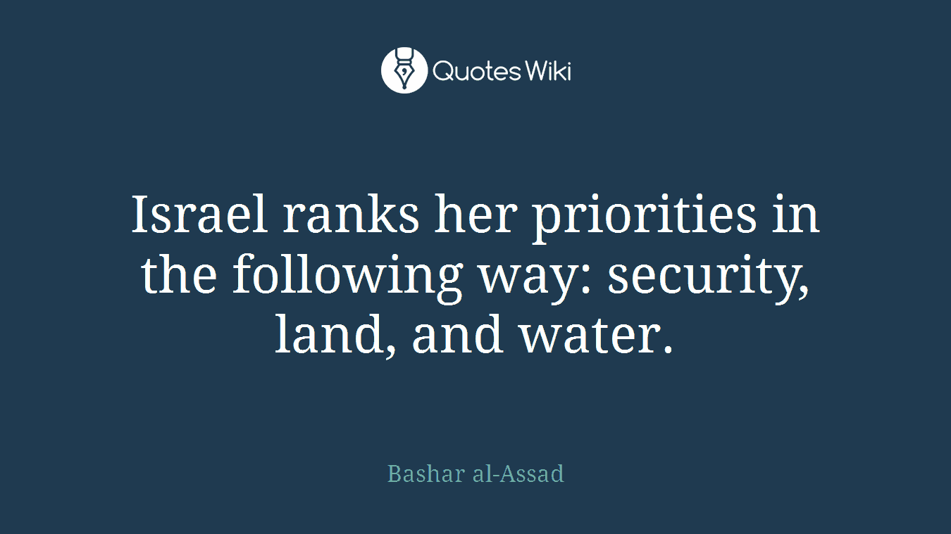 Israel ranks her priorities in the following way: security, land, and water.