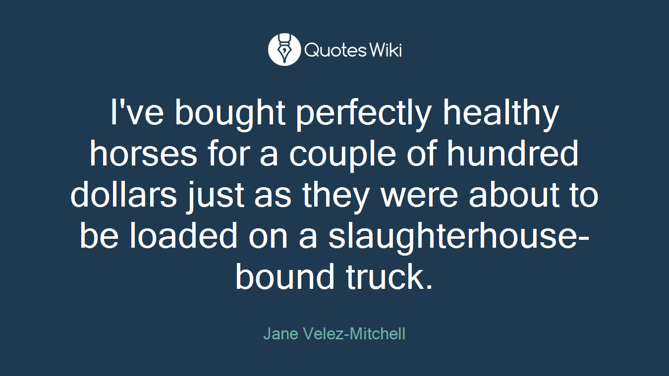 I've bought perfectly healthy horses for a couple of hundred dollars just as they were about to be loaded on a slaughterhouse-bound truck.