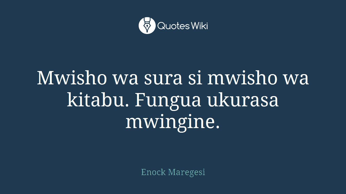 Mwisho wa sura si mwisho wa kitabu. Fungua ukurasa mwingine.