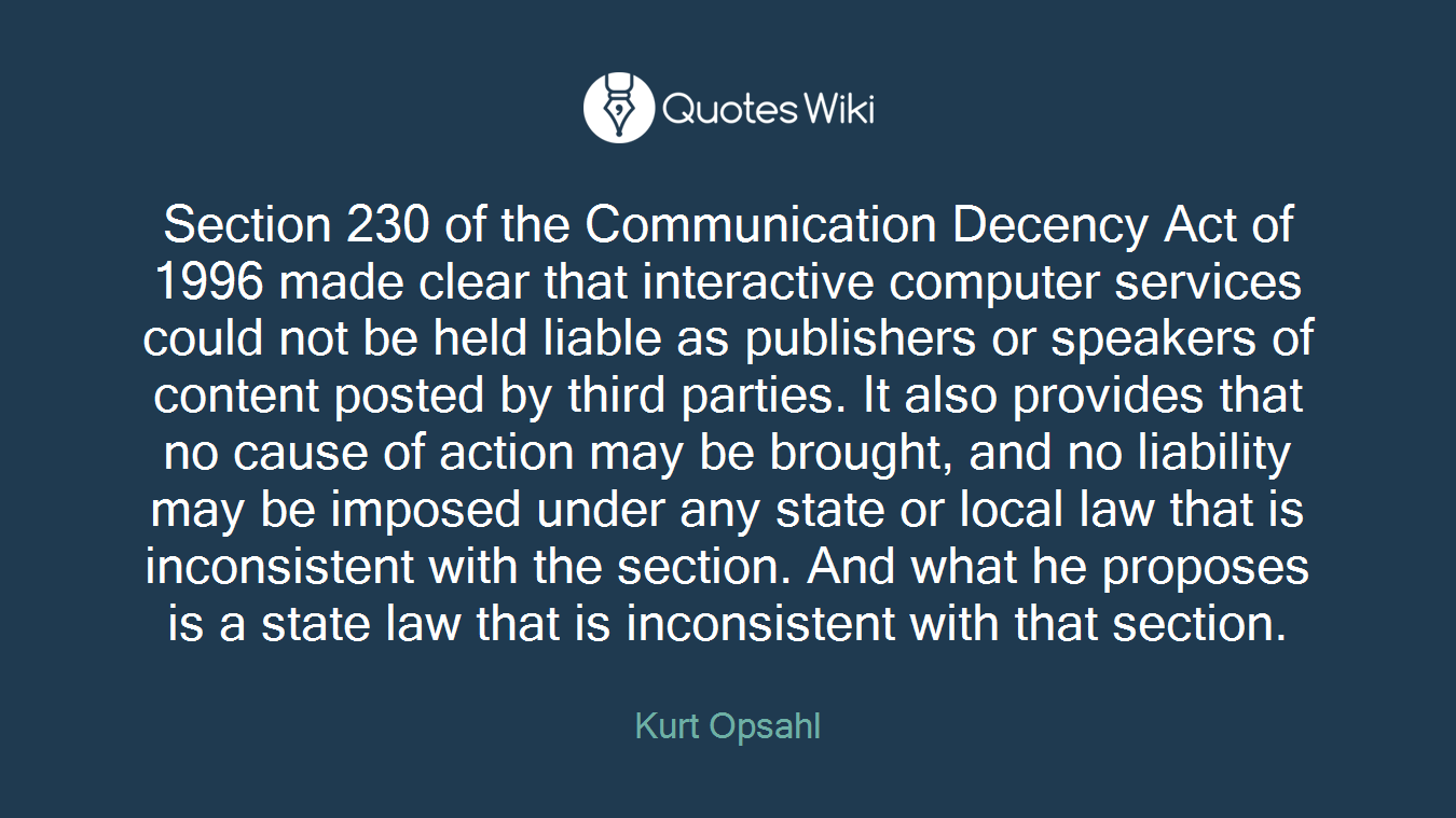 Section 230 Of The Communication Decency Act Of