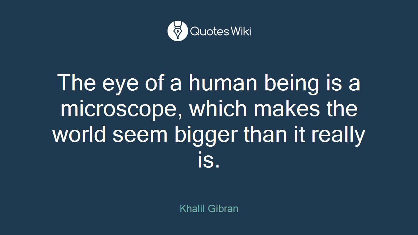 The eye of a human being is a microscope, which makes the world seem bigger than it really is.