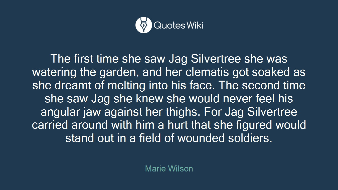 The first time she saw Jag Silvertree she was watering the garden, and her clematis got soaked as she dreamt of melting into his face. The second time she saw Jag she knew she would never feel his angular jaw against her thighs. For Jag Silvertree carried around with him a hurt that she figured would stand out in a field of wounded soldiers.