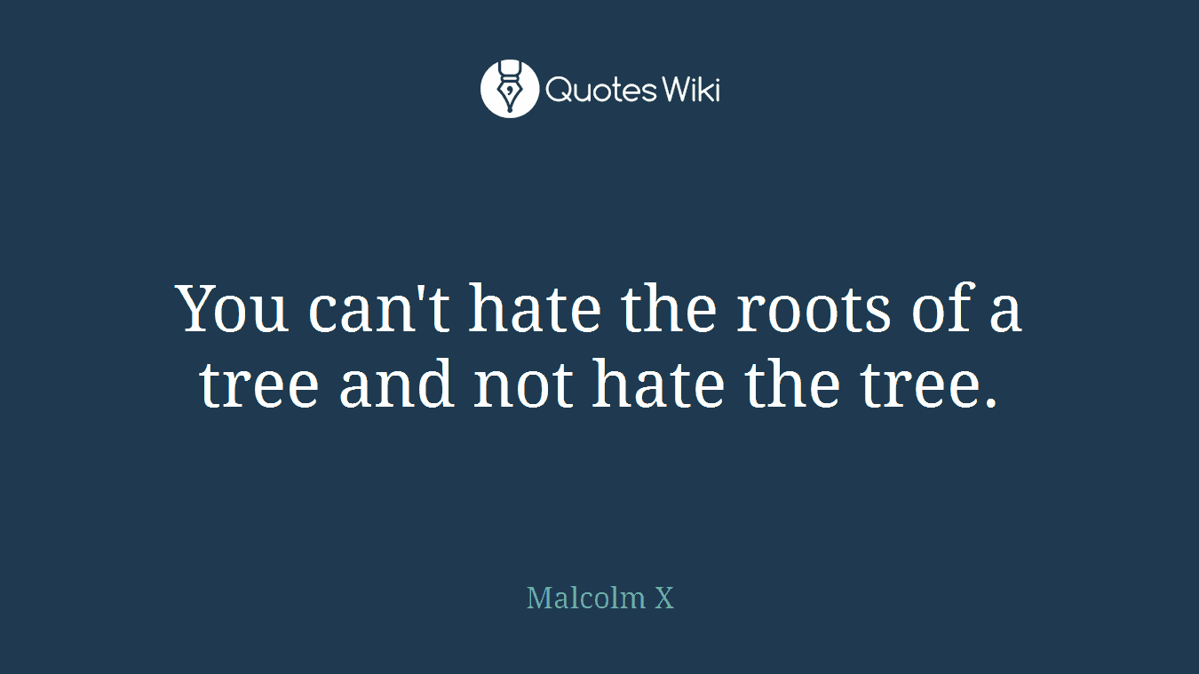You can't hate the roots of a tree and not hate the tree.