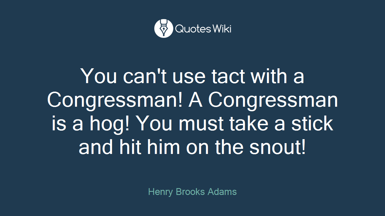 You can't use tact with a Congressman! A Congressman is a hog! You must take a stick and hit him on the snout!