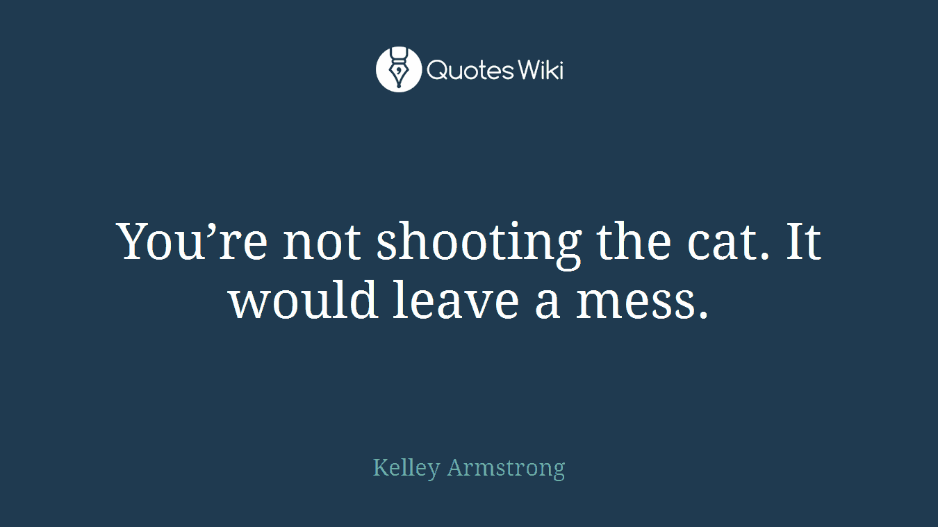 You're not shooting the cat. It would leave a mess.