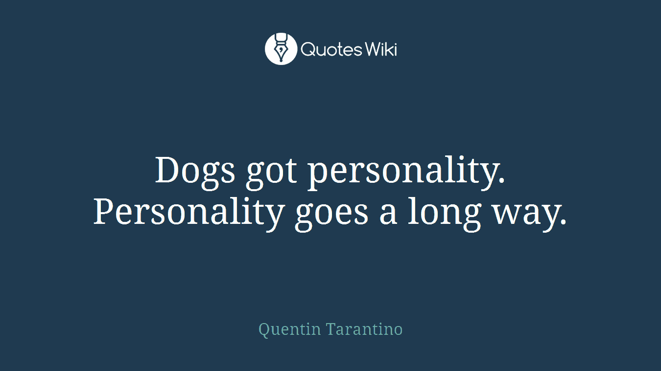 Dogs got personality. Personality goes a long way.