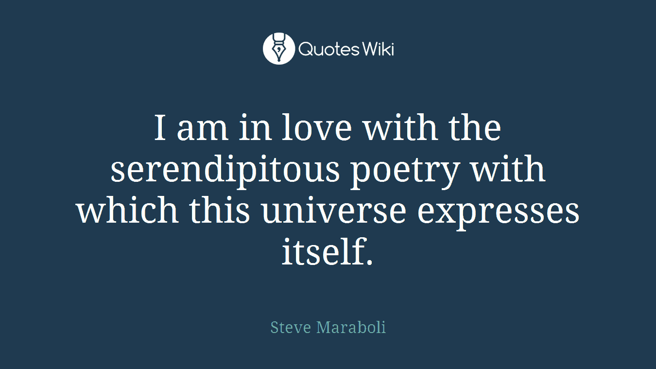 I am in love with the serendipitous poetry with which this universe expresses itself.