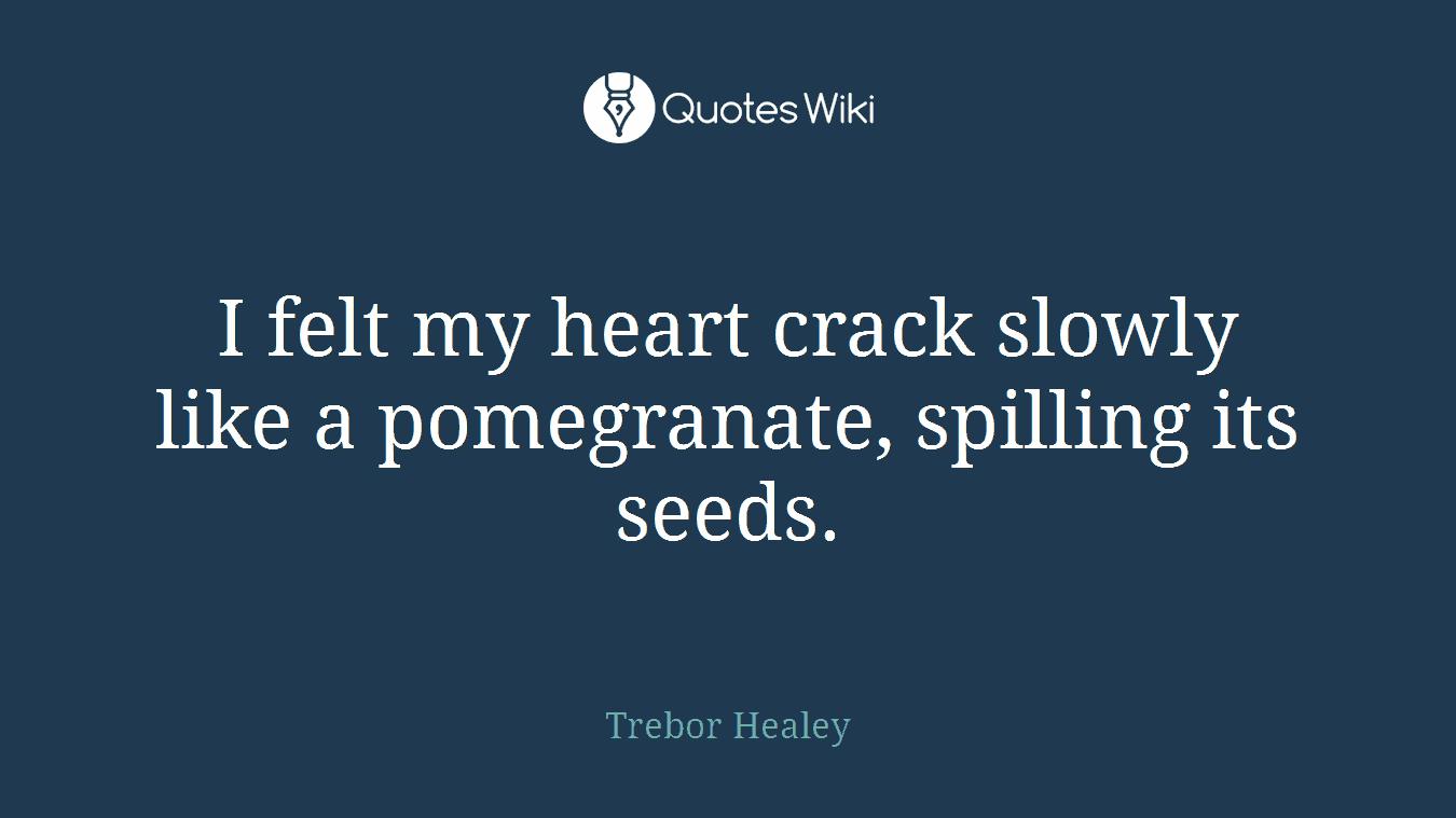 I felt my heart crack slowly like a pomegranate, spilling its seeds.