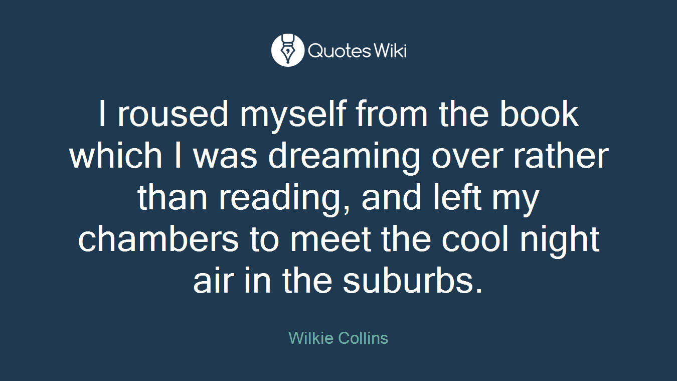 I roused myself from the book which I was dreaming over rather than reading, and left my chambers to meet the cool night air in the suburbs.