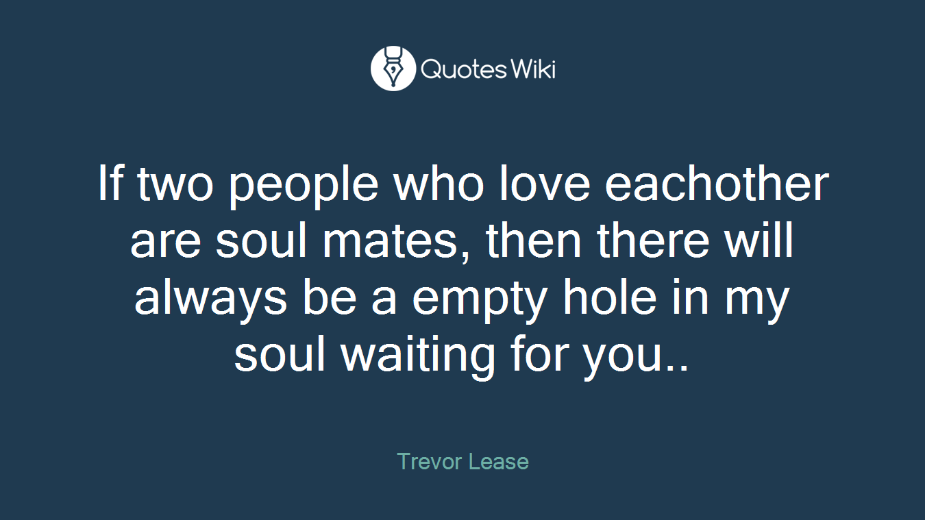 If two people who love eachother are soul mates, then there will always be a empty hole in my soul waiting for you..