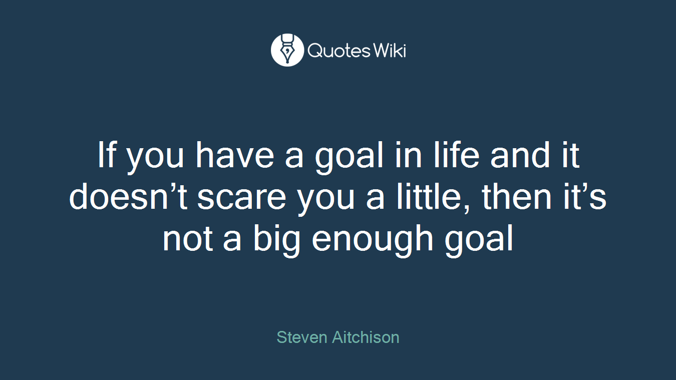 If you have a goal in life and it doesn't scare you a little, then it's not a big enough goal