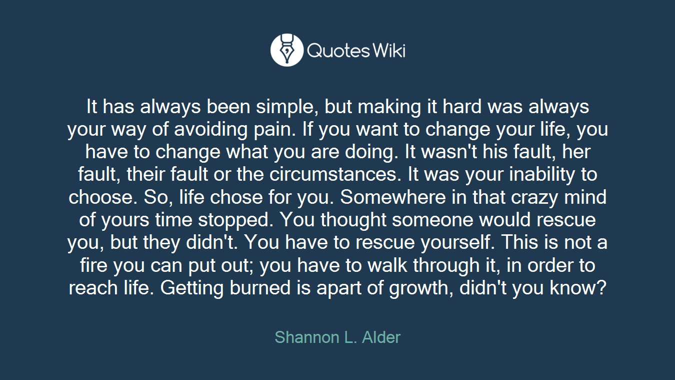 It has always been simple, but making it hard was always your way of avoiding pain. If you want to change your life, you have to change what you are doing. It wasn't his fault, her fault, their fault or the circumstances. It was your inability to choose. So, life chose for you. Somewhere in that crazy mind of yours time stopped. You thought someone would rescue you, but they didn't. You have to rescue yourself. This is not a fire you can put out; you have to walk through it, in order to reach life. Getting burned is apart of growth, didn't you know?
