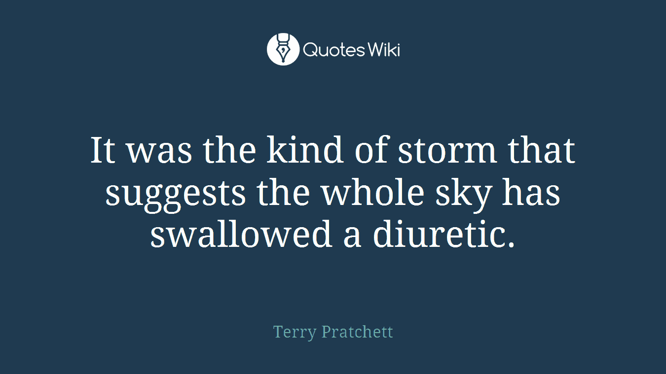 It was the kind of storm that suggests the whole sky has swallowed a diuretic.
