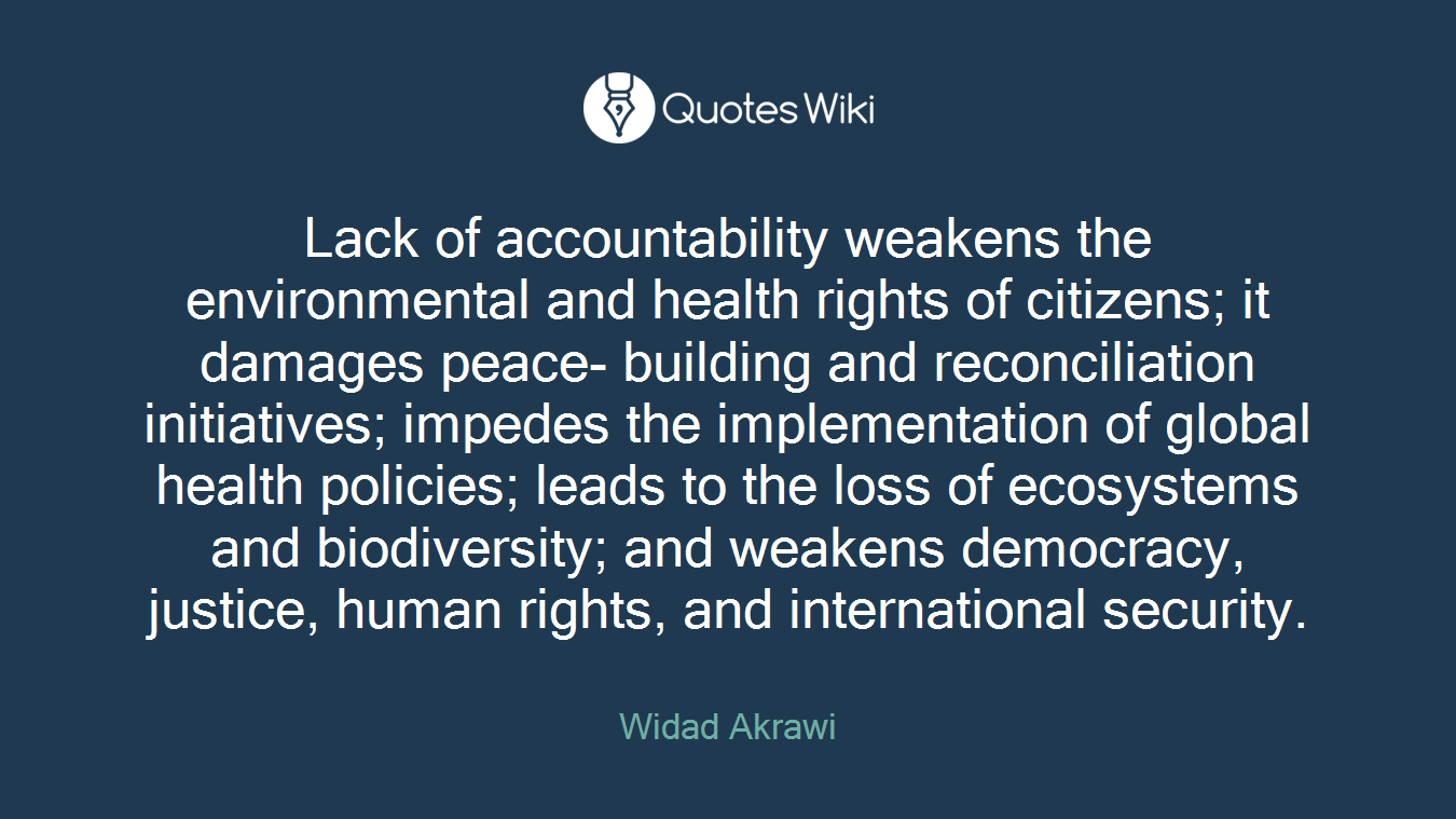 Lack of accountability weakens the environmental and health rights of citizens; it damages peace- building and reconciliation initiatives; impedes the implementation of global health policies; leads to the loss of ecosystems and biodiversity; and weakens democracy, justice, human rights, and international security.