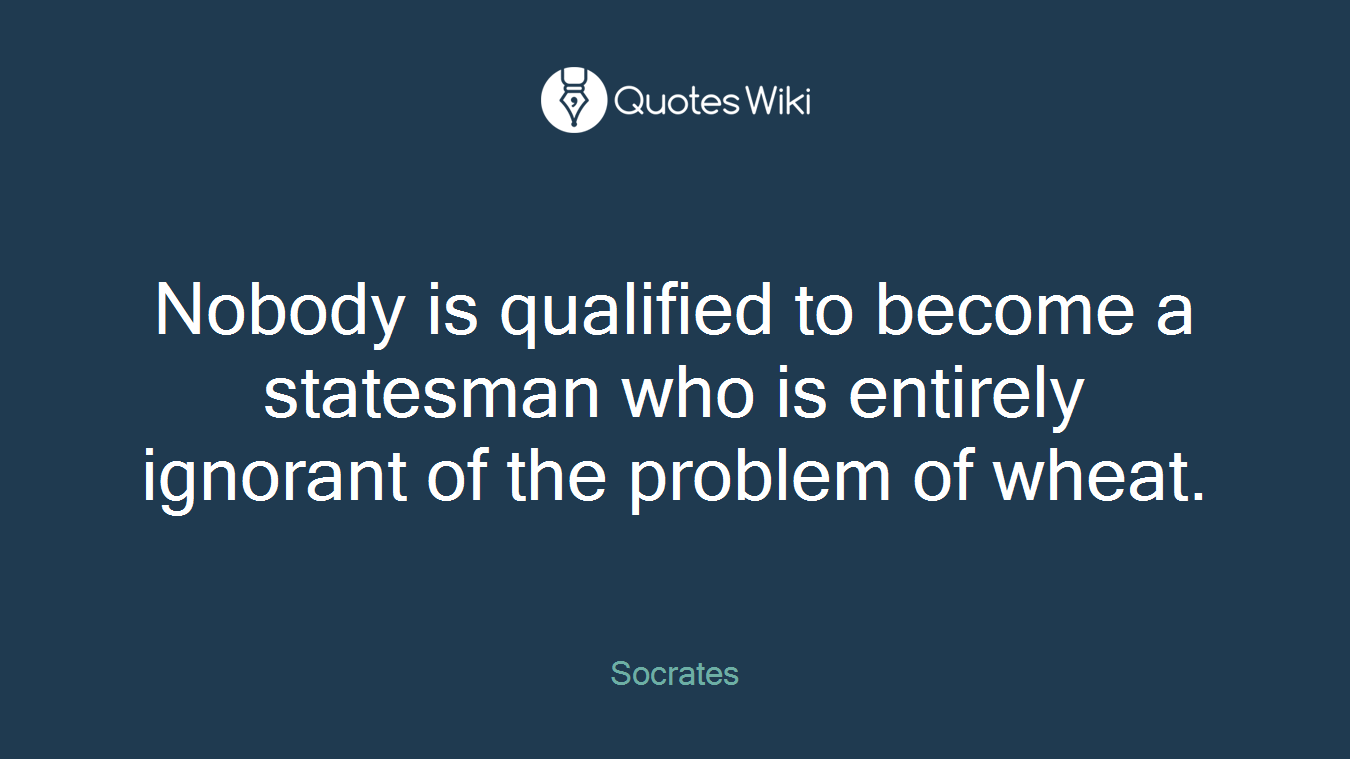 Nobody is qualified to become a statesman who is entirely ignorant of the problem of wheat.