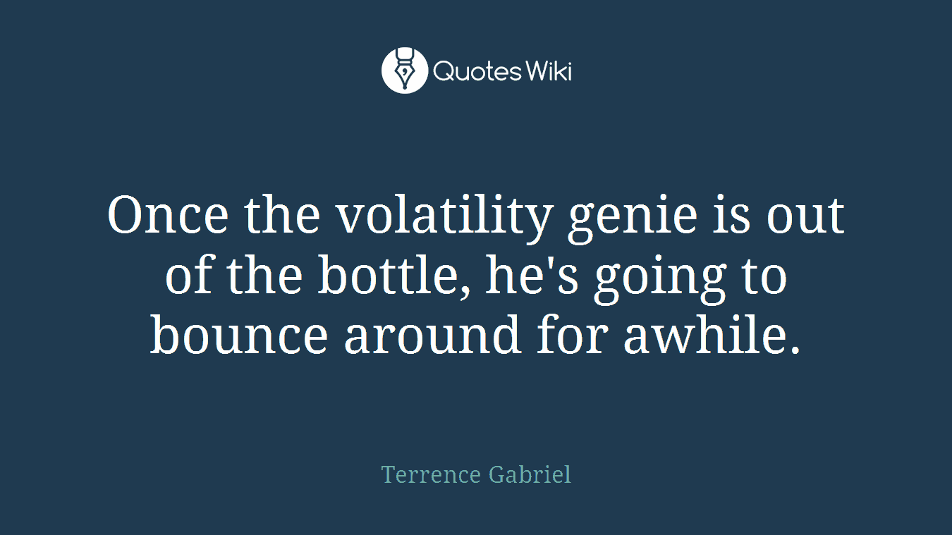 Once the volatility genie is out of the bottle, he's going to bounce around for awhile.