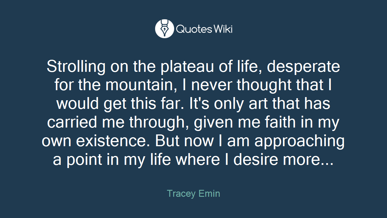 Strolling on the plateau of life, desperate for the mountain, I never thought that I would get this far. It's only art that has carried me through, given me faith in my own existence. But now I am approaching a point in my life where I desire more...