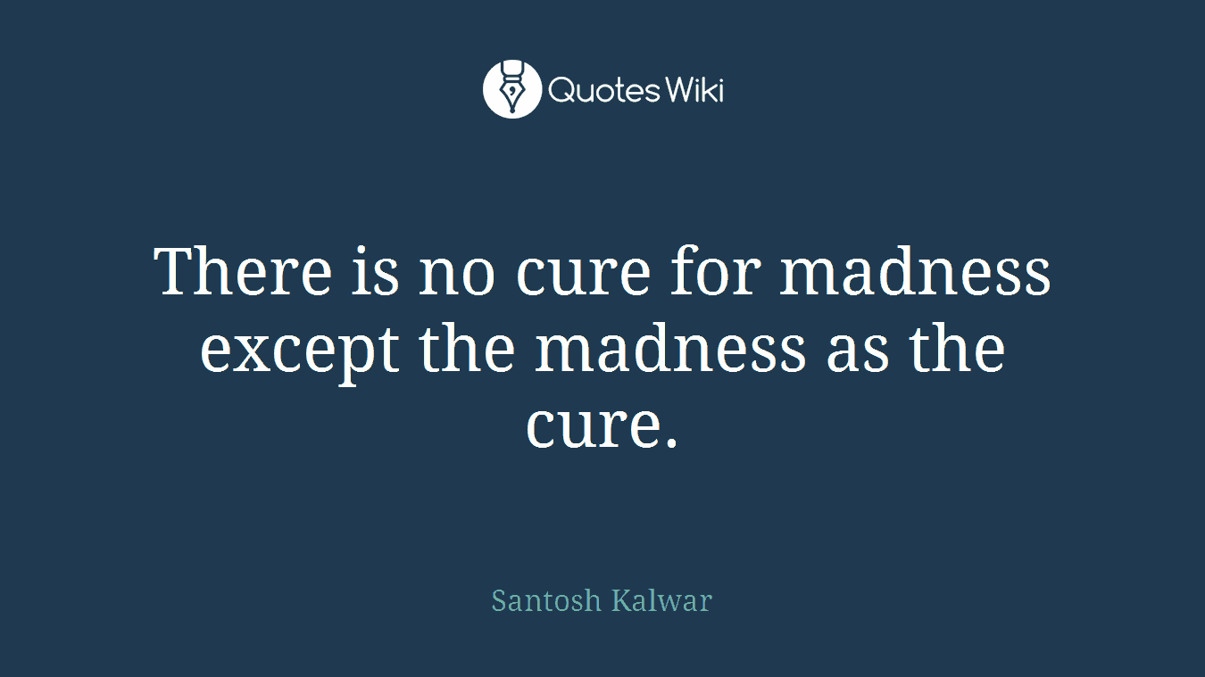 There is no cure for madness except the madness as the cure.