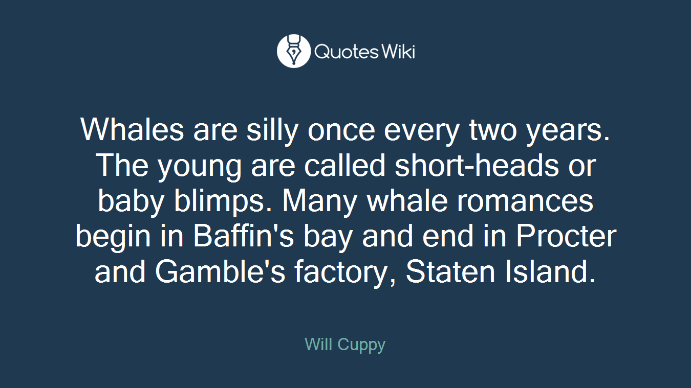 Whales are silly once every two years. The young are called short-heads or baby blimps. Many whale romances begin in Baffin's bay and end in Procter and Gamble's factory, Staten Island.