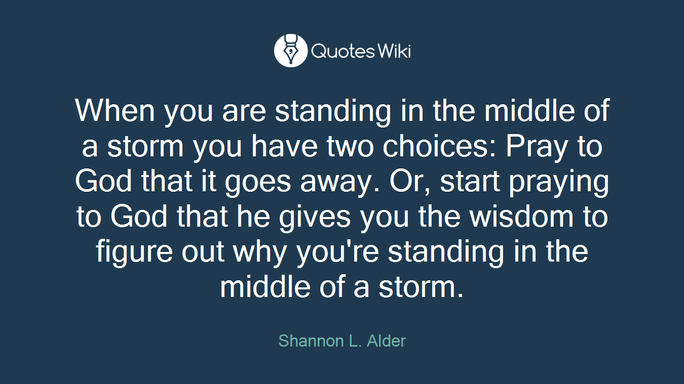 When you are standing in the middle of a storm you have two choices: Pray to God that it goes away. Or, start praying to God that he gives you the wisdom to figure out why you're standing in the middle of a storm.