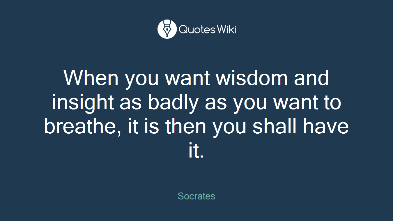 When you want wisdom and insight as badly as you want to breathe, it is then you shall have it.