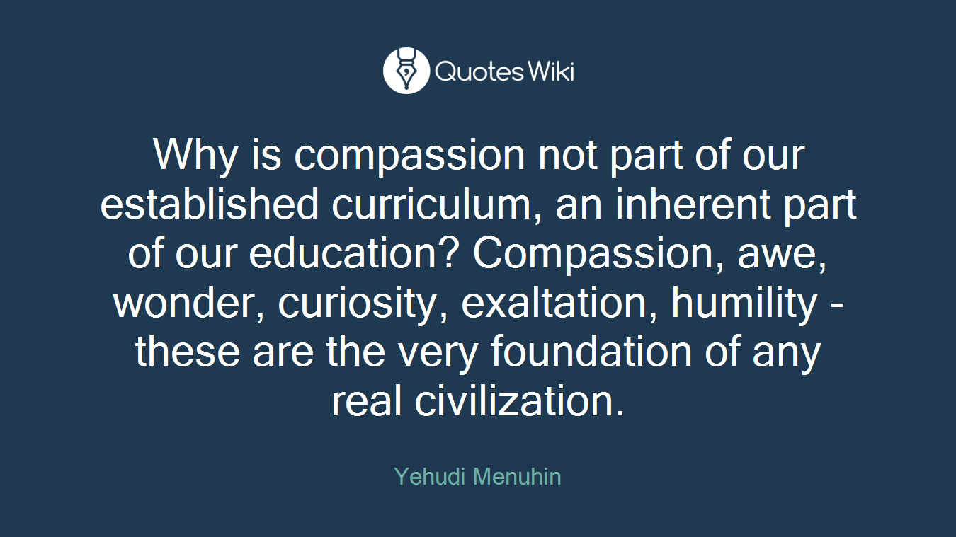 Why is compassion not part of our established curriculum, an inherent part of our education? Compassion, awe, wonder, curiosity, exaltation, humility - these are the very foundation of any real civilization.